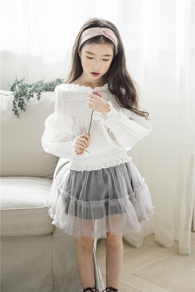 3-15Y Girls White Off-Shoulder Blouse G21033C (Mother sizes available)