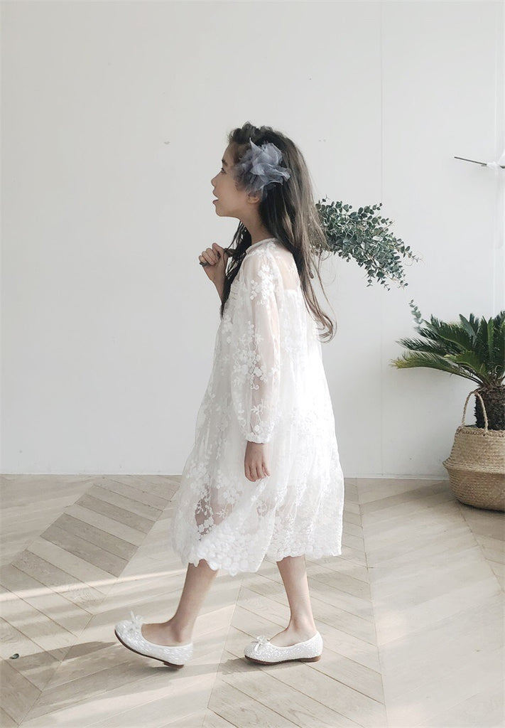 3-15Y Girls White Lace Dress G21033E (Mother sizes available)