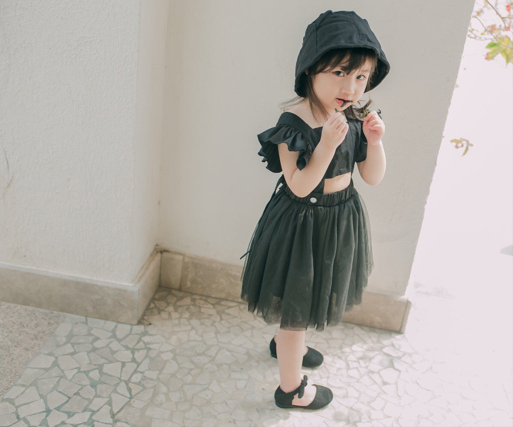 1-8Y Girls Black Tulle Dress G20121H