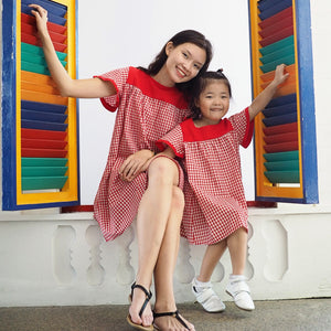 3-15Y Girls Red Checker Dress G21031G (Mother size available)