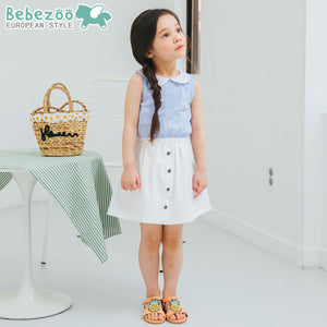1-6Y Bebezoo Girls White Collar Blue Dress K20161C
