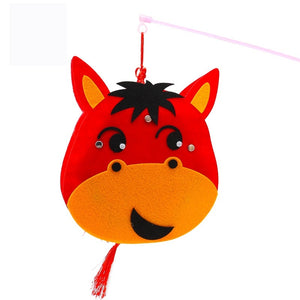 DIY Felt Chinese Zodiac Animals Lantern with LED light and Stick LT1012B