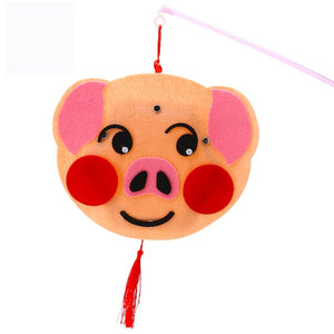 DIY Felt Chinese Zodiac Animals Lantern with LED light and Stick LT1012C