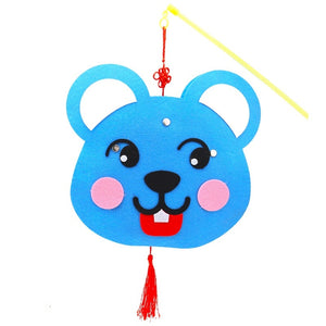 DIY Felt Chinese Zodiac Animals Lantern with LED light and Stick LT1012H