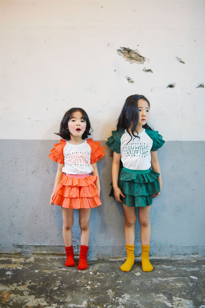 2-7Y Girls Green Layers Skirt G214I