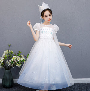 Girls Frozen Elsa Puff Sleeves Princess Dress with Cape G20134C
