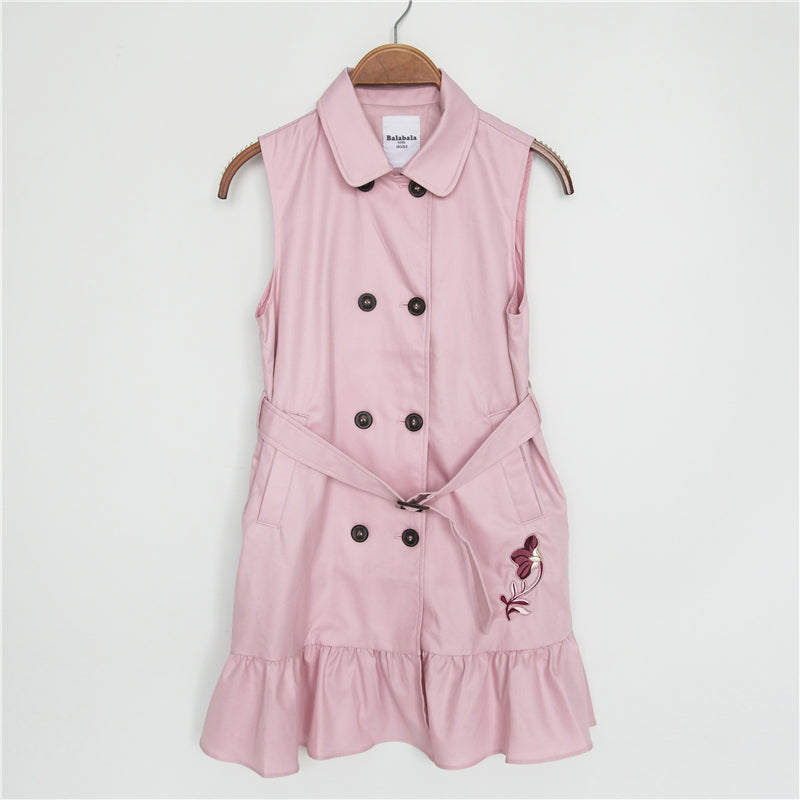 4-15Y Girls Trench Coat and Dress 2-pieces Set A2086J (Mother size available)