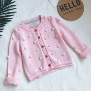 2-12Y Girls Pom Pom Knitted Cardigan A2086L
