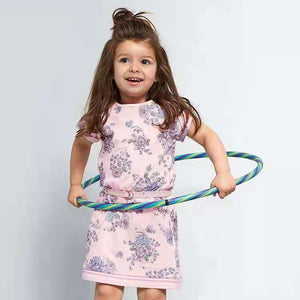 Girls Floral Cotton Dress with Belt A20135A