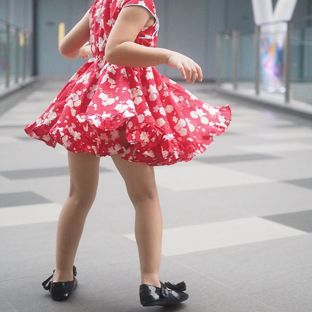 1-8Y Girls Cheongsam Twirl Dress with Bloomer and Hairclip EE012A