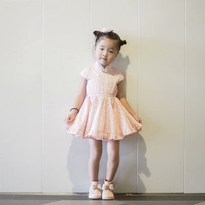 1-8Y Girls Cheongsam Twirl Dress with Bloomer and Hairclip EE012B