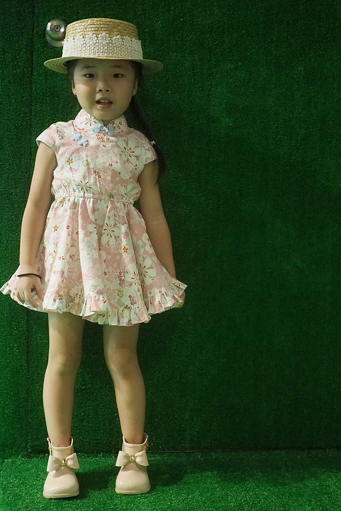 1-8Y Girls Cheongsam Twirl Dress with Bloomer and Hairclip EE012C