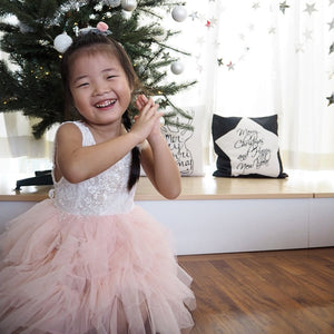 1-8Y White Lace and Pink Layers Tulle Dress G2101E