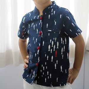 Boys Mandarin Collar Shirt by Korea Cottonvill fabric A100CEE014D