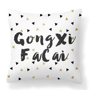Flannel Double Sided Printed Gong Xi Fa Cai CNY Cushion Covers PPD652B