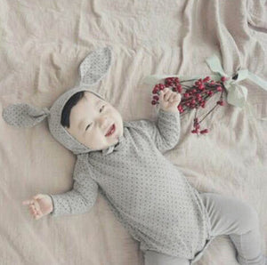 Baby Fur Ball Tail Romper with Beanie Set PPDK403C