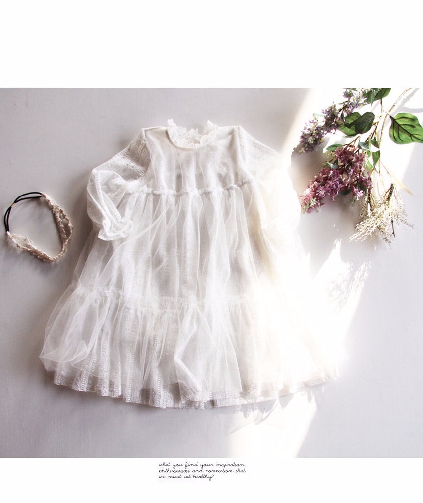 2-8Y Girls Angel White Lace Dress G2021D