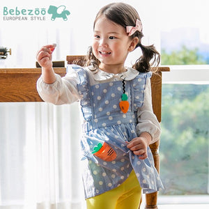 2-4Y Bebezoo Girls Blue Pinafore Ruffles Dress K2016A / White Long-Sleeve Top K2011M