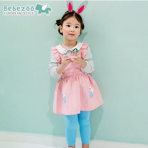 2-4Y Bebezoo Girls Pink Pinafore Ruffles Dress K2016B