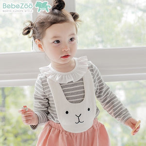 2-4Y Bebezoo Girls Bunny Romper K2016C / Grey Stripes Shirt K2011O