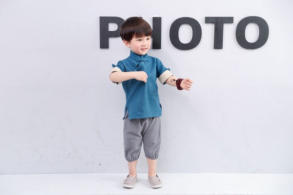 2-8Y Boys Mandarin Collar Top A100C13B