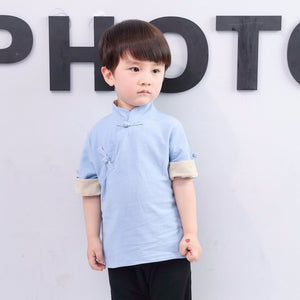 2-8Y Boys Mandarin Collar Top A100C13C