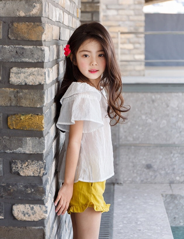 2-12Y Girls White Ruffles Sleeves Top A2021L (Mother sizes available)