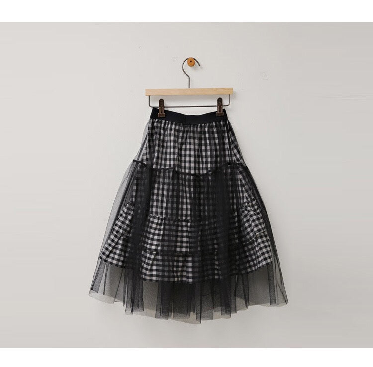 3-12Y Girls Black Checker Tulle Maxi Skirt G224F (Mother sizes available)