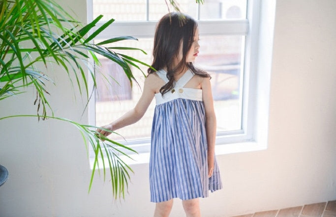 2-12Y Girls Halter Stripes Dress A2016E