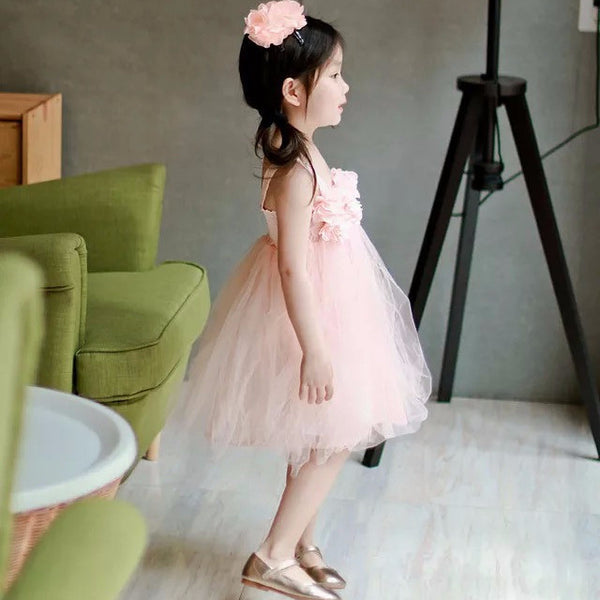 1-5Y Pink Floral Tulle Dress by Italy Brand PEACOCK BLUE G250M