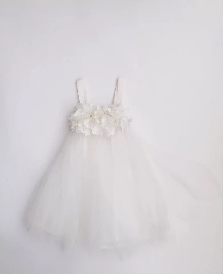 0-5Y White Floral Tulle Dress by Italy Brand PEACOCK BLUE G250N