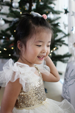 2-7Y Sequins Angel Gold Tulle Dress G2101C