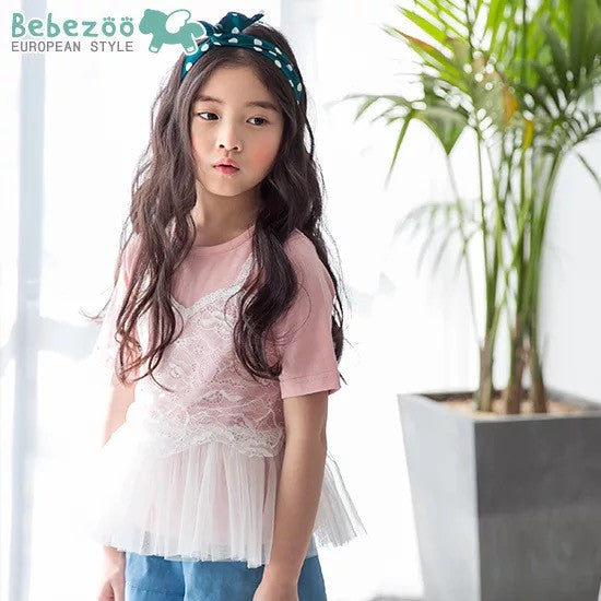 3-10Y Bebezoo Girls Lace Pink Top K2011L