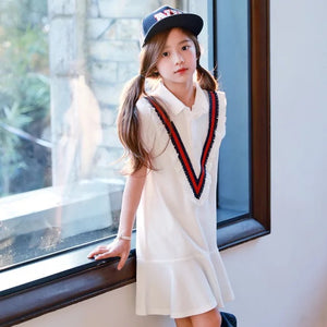 3-15Y Girls White Collar Dress G2101J