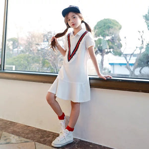 3-15Y Girls White Collar Dress G2101J (Mother size available)