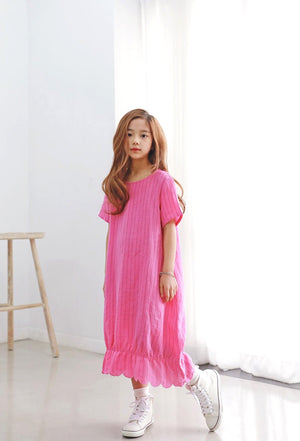 3-15Y Girls Pink Maxi Dress G2103C