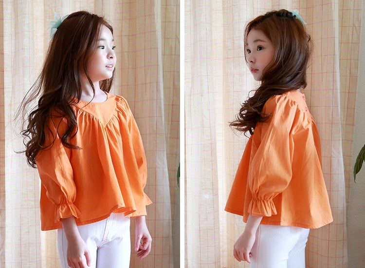 3-15Y Girls Orange Blouse G212A (Mother sizes available)