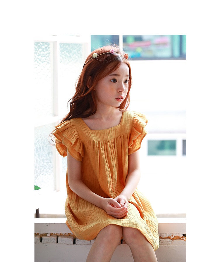 3-15Y Girls Ruffles Sleeves Dress G2102H