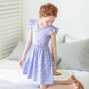 3-15Y Girls Blue Floral Dress G2102I