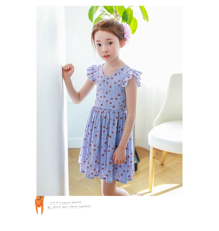 3-15Y Girls Blue Floral Dress G2102I (Mother sizes available)