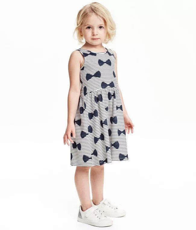 1-6Y Girls Little Maven Bows Stripe Dress A2014F