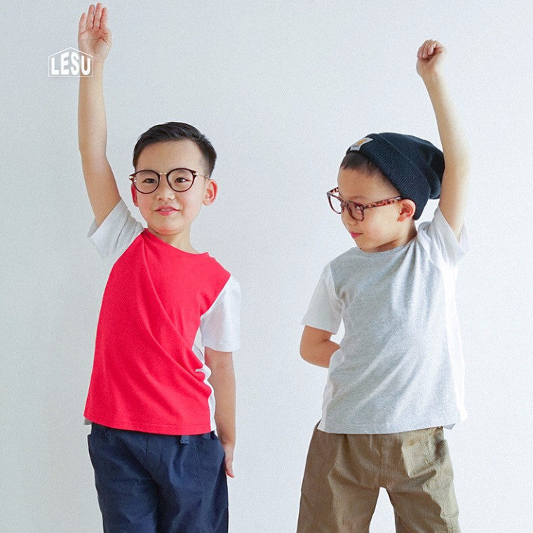 3-12Y Boys White Sleeves Red Shirt by LESU A10441D