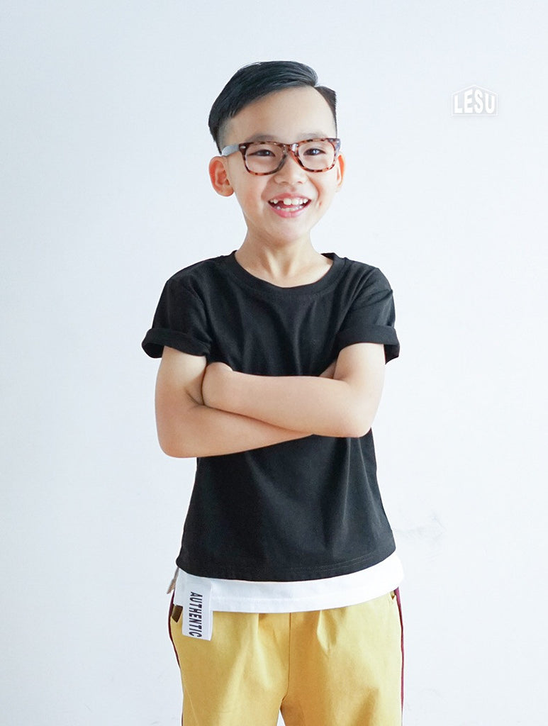 3-12Y Boys Black and White Layer Shirt by LESU A10441G