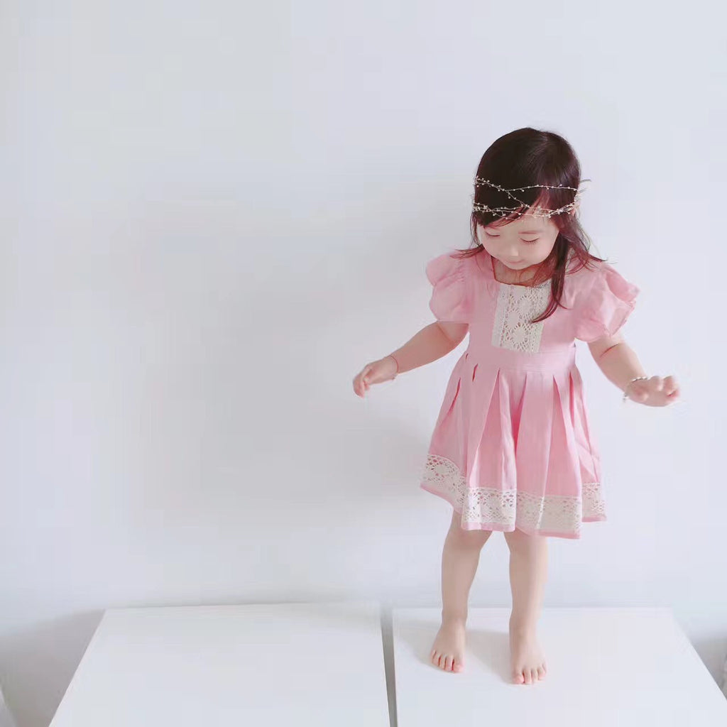 1-5Y Girls Pink Dress with lace details G240K