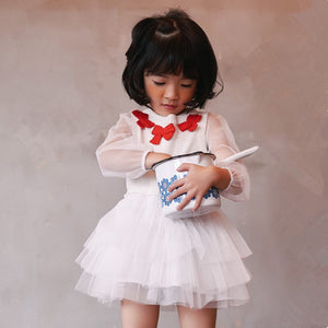 2-6Y Girls White Sweater Tulle Dress G210F
