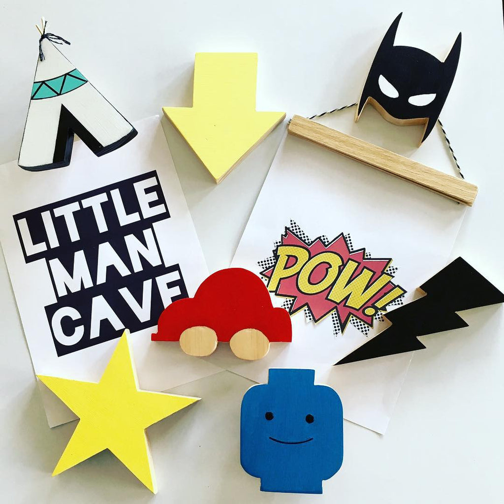 Wooden Super Hero Wall Hook for babies and kids rooms H625E