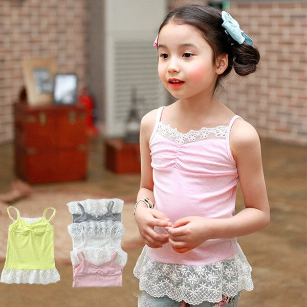 3-10Y Girls Lace Inner Top A2023A/A2023B/A2023C