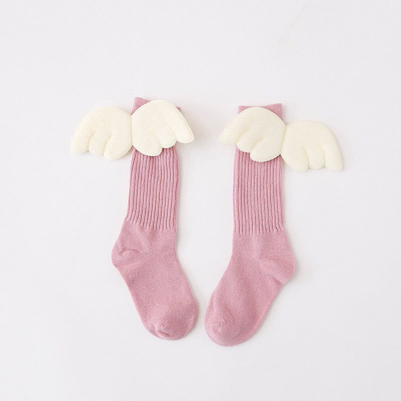 1-6Y Kids Knee High Long Pink Socks with Wing A3253L13