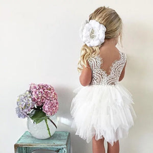 1-6Y White Lace and White Layers Tulle Dress G2101N