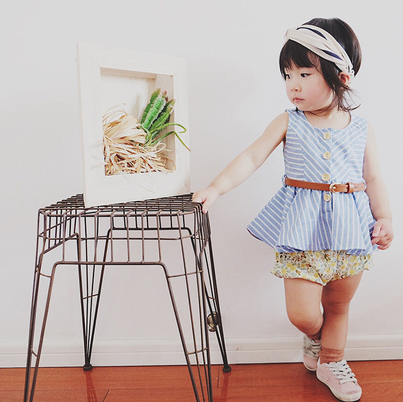 1-5Y Girls Blue Stripes Dress / Blouse with Belt G230I